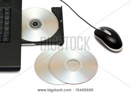 computer disk drive and mouse isolated on a white background.