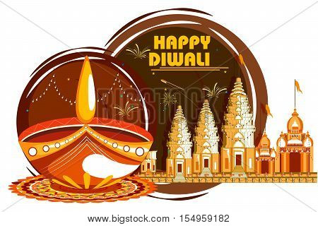 easy to edit vector illustration of decorated diya for Happy Diwali holiday background with temple
