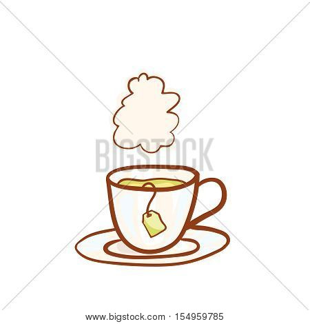 Tea cup sketchy vector clip-art, isolated on white. Vector design element for invitation or greeting card. Hand drawn icon