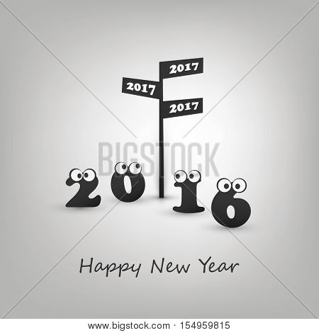 Where Do We Go Next Year - Road Sign and Numerals with Rolling Eyes - Abstract Modern Style Funny Happy New Year Greeting Card or Background Concept, Creative Design Template - 2017