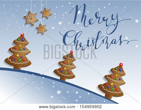 Ginger trees on snow background with decorations and handwritten Merry Christmas bouncing letters