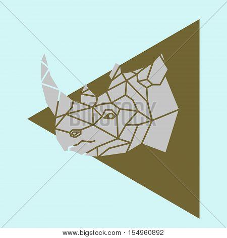 Rhino rhinoceros head geometric lines silhouette logo badge icon isolated on blue background.