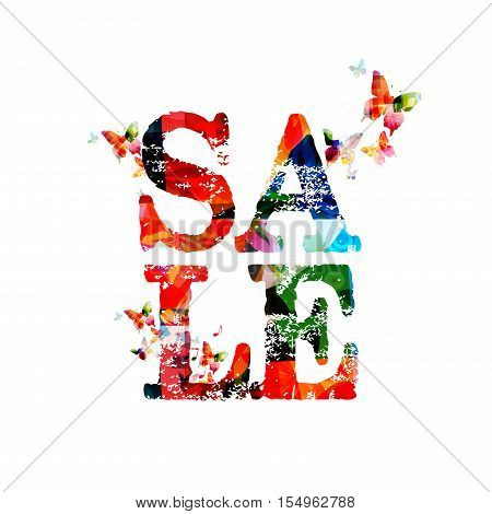 Colorful sale banner vector illustration. Sale poster with butterflies. Sale background. Website banner for sale. Sale tag. Sale promotions and advertisements. Sale label. Typographic sale ad design