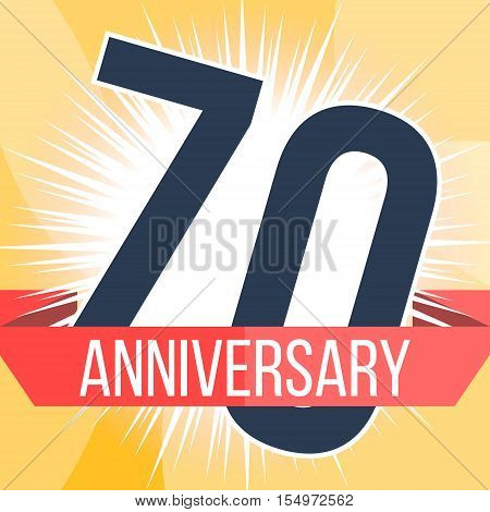 Seventy years anniversary banner. 70th anniversary logo. Vector illustration.