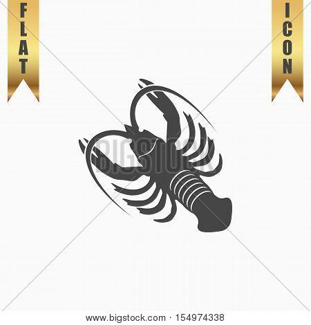 Crawfish. Flat Icon. Vector illustration grey symbol on white background with gold ribbon