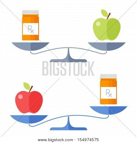 Apple and a cure on a scales. Flat concept illustration of balance healthy food and drug symbols. Isolated vector elements for medical and healthcare infographics presentations publish and web.