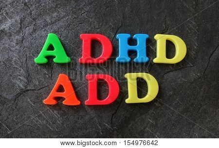 ADD and ADHD spelled out in colorful play letters