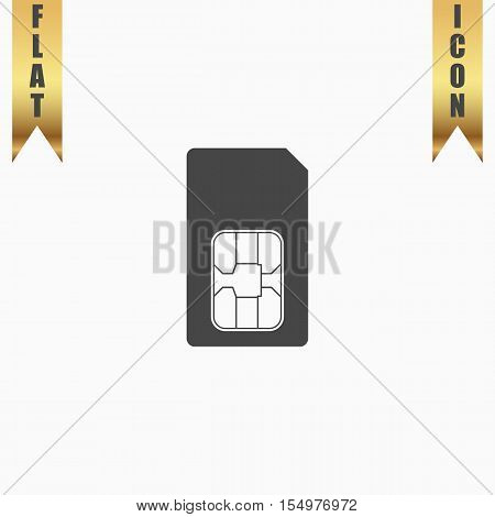 Sim card. Flat Icon. Vector illustration grey symbol on white background with gold ribbon
