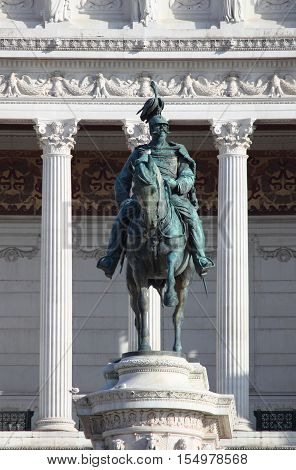 Equestrian monument to Victor Emmanuel II in Venice Square of Rome, Italy