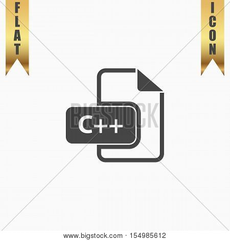 C development file format. Flat Icon. Vector illustration grey symbol on white background with gold ribbon