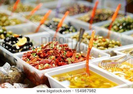 Sundried Tomatoes On Farmer's Market In Italy