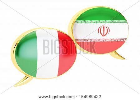 Speech bubbles Iranian-Italian translation concept. 3D rendering