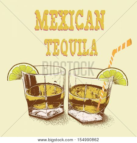 Two stemware of tequila with lime.Vector illustration