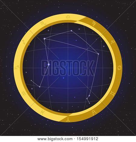 libra star horoscope zodiac in fish eye telescope golden ring frame with cosmos background