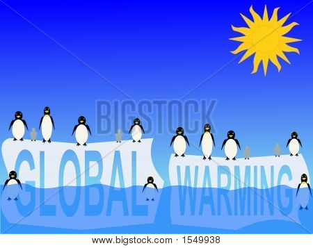 Global Warming com pinguins
