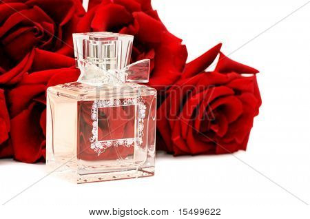 perfume and roses isolated on a white background