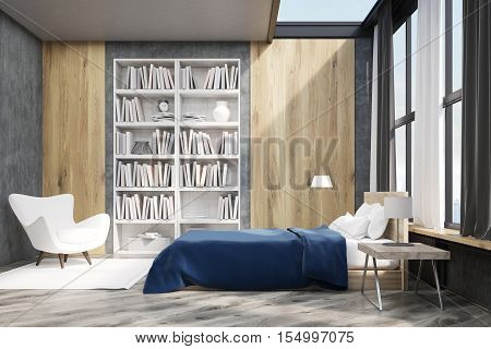 Bedroom interior with window and wooden wall elements. Large bookcase is situated near a white armchair. 3d rendering.