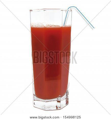 fresh tomato juice glass with tubule isolated on white background