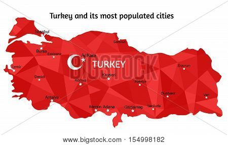Vector Turkey map and its largest and most populated cities