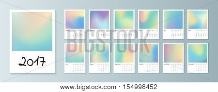 Design of Wall Monthly Calendar for 2017 Year. Print Template with holographic. Week Starts Monday. Set of 12 Months. Vector.