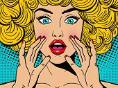 Sexy Surprised Blonde Pop Art Woman With Wide Open Eyes And Mouth And Rising Hands Screaming. Vector poster