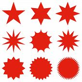 Collection Of Trendy Retro Stars Shapes.sunburst Design Elements Set. poster