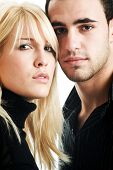 foto of blonde woman  - woman and man in dark shirts on white - JPG
