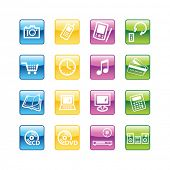 Aqua  home electronics icons. Vector file has layers, all icons in four versions are included.