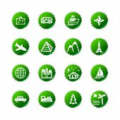 green sticker travel icons