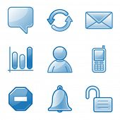Community web icons, blue alfa series