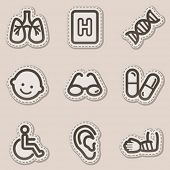 Medicine web icons set 2, brown contour sticker series