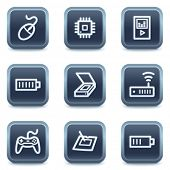 Electronics web icons set 2, mineral square buttons series