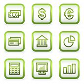 Finance web icons set 1, square buttons, green contour