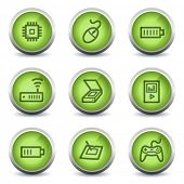 Electronics web icons set 2, green glossy set