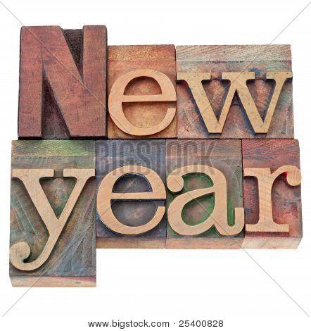 New Year In Letterpress Type