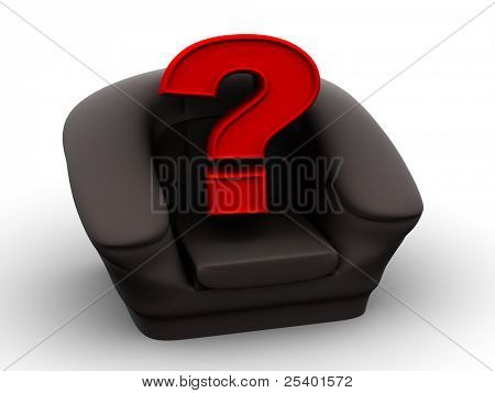 Armchair with question. Vacancy. 3d
