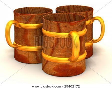 Drei Tassen. 3D