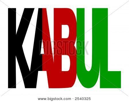 Kabul Text With Afghan Flag