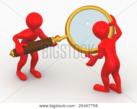 Two man with loupe. Search. 3d