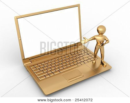 Man with laptop on white isolated background. 3d