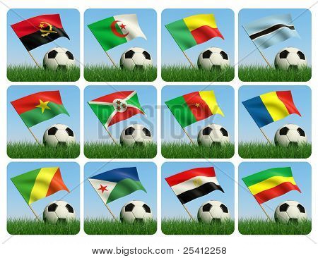 Soccer ball in the grass and the flag against the blue sky. African flags. 3d