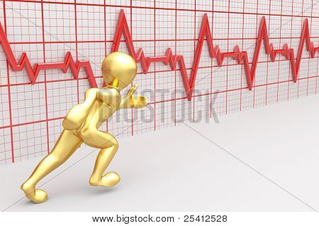 Running men on the background of the chart heartbeat. 3d
