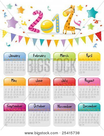 calendar 2012 colorful kids party