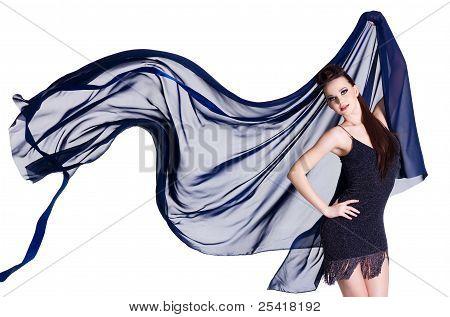 Modern Woman With Blowing Chiffon