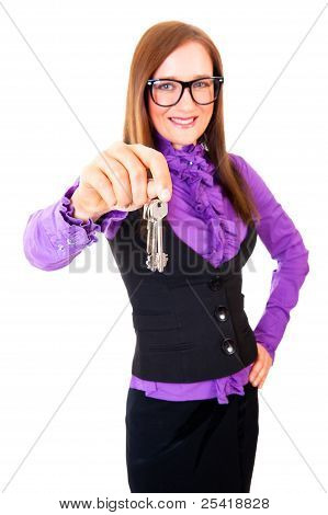 Realtor Handing The Keys Isolated Over White