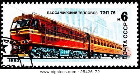 Russian Tep-75 Diesel Locomotive Train