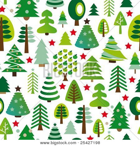 Seamless pattern set of christmas trees background in vector