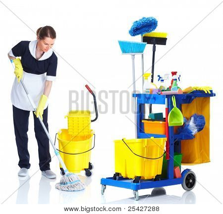 Cleaner maid woman with janitor cart washing floor. Isolated on white background..