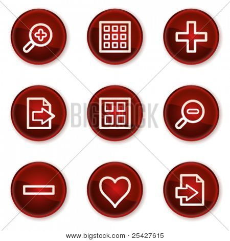 Image viewer web icons set 1, dark red circle buttons