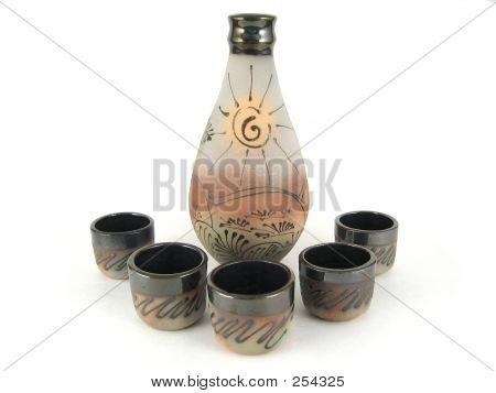 Sake Container With Cups. Isolated